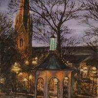 Kvällsljus i Trädgårdsföreningen Akvarell